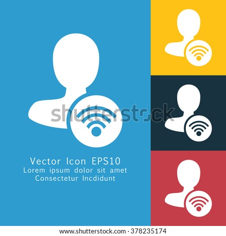 Vector illustration of solid male user connection icon. Could be used as menu button, user interface element template, badge, sign, symbol, company logo