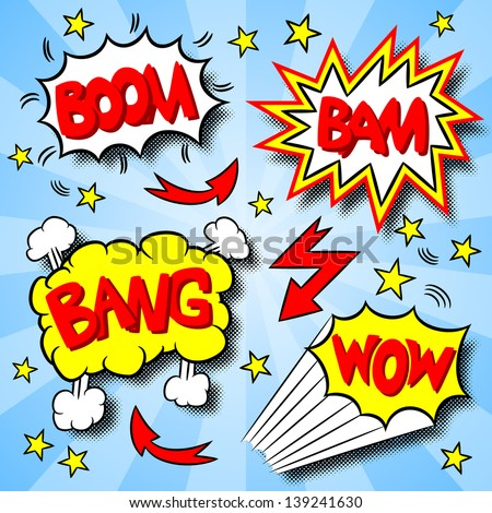 vector illustration of some cartoon text explosions - stock vector