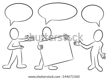 vector illustration of some hand drawn cartoon people in black and white with speech bubbles - stock vector
