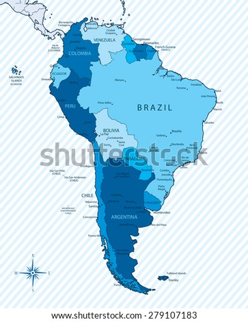 Vector Illustration South America Map Countries Stock Vector - Usa map with capitals and major cities
