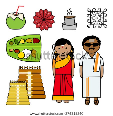 Vector illustration of South Indian couple and Icons - stock vector