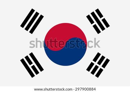 Vector illustration of south korea flag. Rectangular national flag of  south korea - stock vector