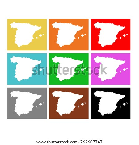vector illustration of Spain maps