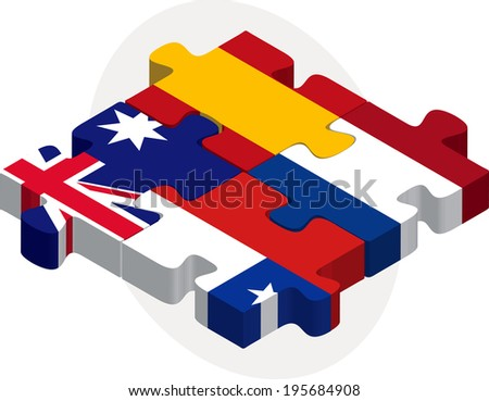 Vector illustration of Spain, Netherlands, Australia, Chile Flags in puzzle isolated on white background - stock vector