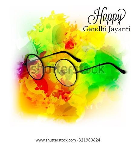 Vector illustration of spectacles on India background for Gandhi Jayanti. - stock vector
