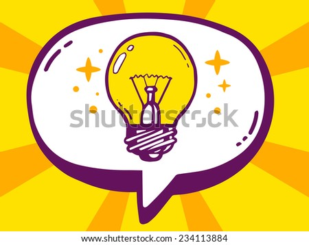 Vector illustration of speech bubble with icon of bulb light on yellow pattern background. Line art design for web, site, advertising, banner, poster, board and print. - stock vector