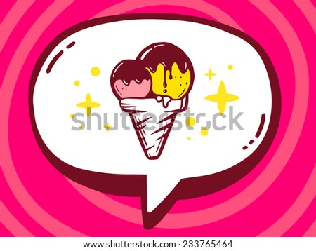 Vector illustration of speech bubble with icon of ice cream on pink pattern background. Line art design for web, site, advertising, banner, poster, board and print. - stock vector