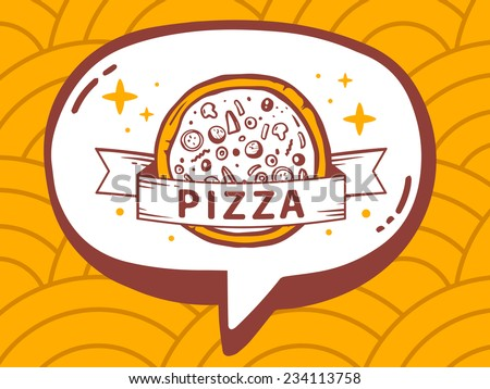 Vector illustration of speech bubble with icon of pizza on yellow pattern background. Line art design for web, site, advertising, banner, poster, board and print. - stock vector