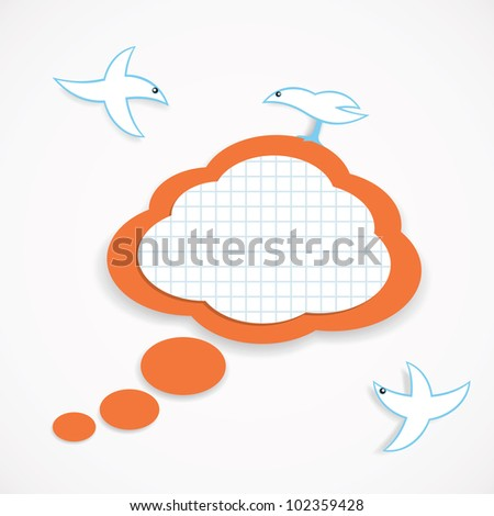 Vector illustration of speech cloud and birds