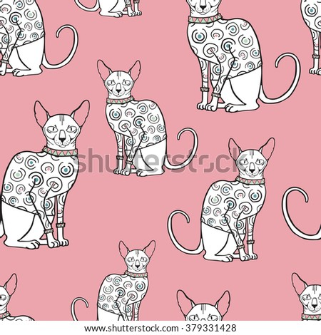 Vector illustration of sphinx cat in sweater. Colorful naked cat on pink background - stock vector