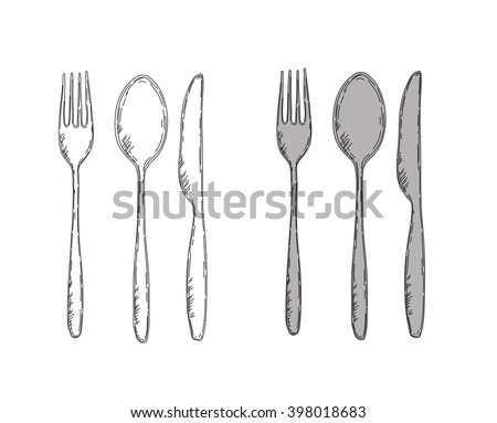 Vector illustration of spoon, fork and knife. Easy to change colors