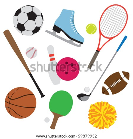Vector illustration of sport equipment set. - stock vector