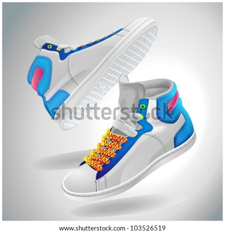 Vector illustration of sport shoes, fly sneakers