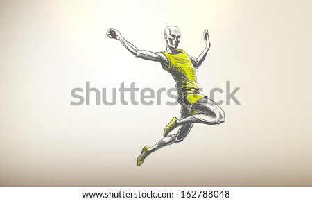 Vector Illustration of Sportsman, Athlete | Long Jump | Decent Copy Space - stock vector