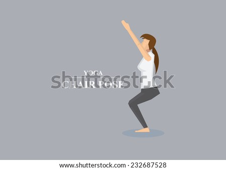 Vector illustration of sporty women balancing on bent knees with  outstretched arms in yoga chair pose isolated on plain grey background - stock vector