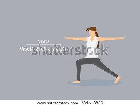 Vector illustration of sporty women in yoga warrior pose with both arms stretched out to the side and one knee bent isolated on plain grey background. - stock vector