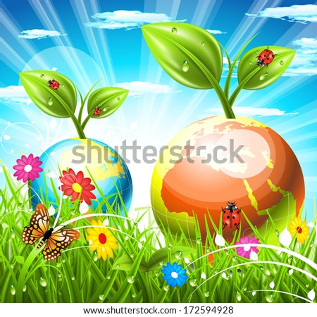 Vector illustration of spring landscape.