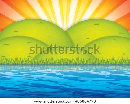 Vector illustration of spring landscape.Sunrise sky - stock vector