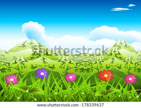 Vector illustration of spring mountain landscape.