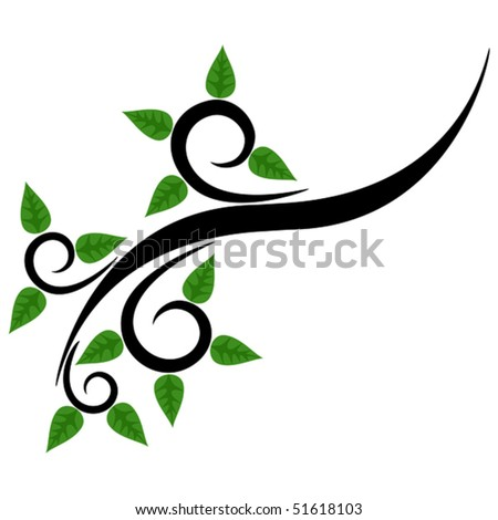 Vector illustration of spring twig, element for design - stock vector