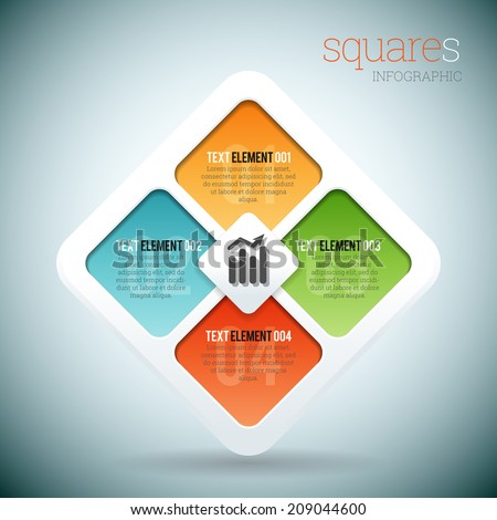 Vector illustration of square based shapes infographic elements.