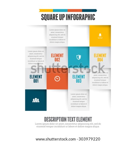 Vector illustration of square up infographic design element. - stock vector