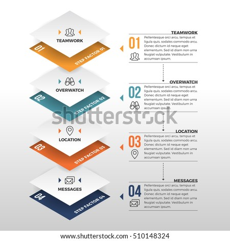 Vector illustration of squared arrow infographic design element.