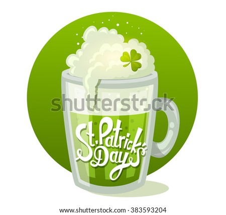 Vector illustration of St. Patrick's Day greeting with big mug of beer in circle on green background. Art design for web, site, advertising, banner, poster, flyer, brochure, board, card, paper print.