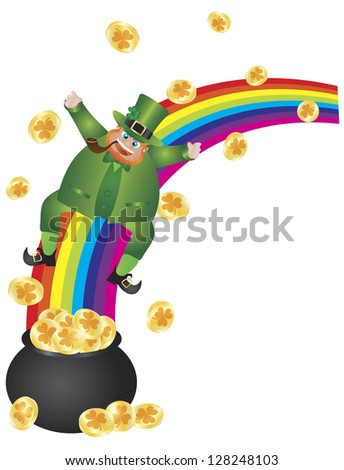Vector Illustration of St Patrick's Day Irish Leprechaun Sliding Down Rainbow