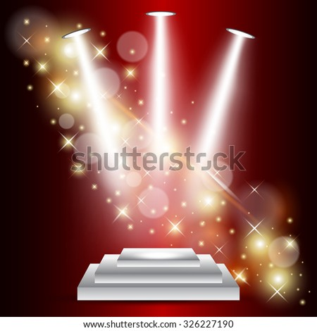 Vector illustration of Stage with red curtians