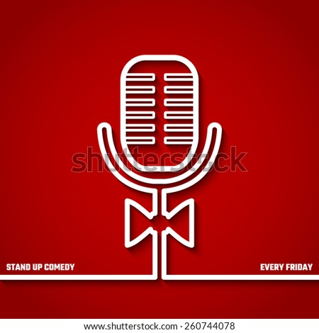 Vector Illustration of Stand up Comedy in Night Club for Design, Website, Background, Banner. Microphone Silhouette Outline Style Element Template. Fun and Jokes - stock vector