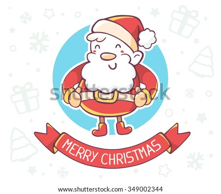 Vector illustration of standing full length santa claus with ribbon on white background.Hand draw line art design for poster,flyer,brochure,greeting card,web,site,banner,board,postcard and paper print - stock vector