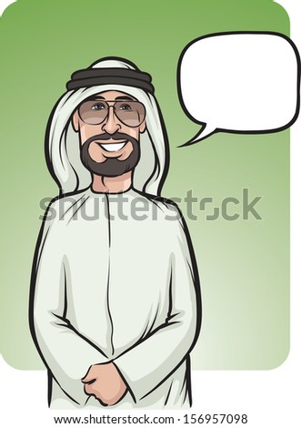 Vector illustration of standing smiling arab man in traditional clothes. Easy-edit layered vector EPS10 file scalable to any size without quality loss. High resolution raster JPG file is included. - stock vector