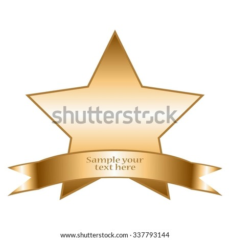 Vector illustration of Star and ribbon with text. Superstar. - stock vector