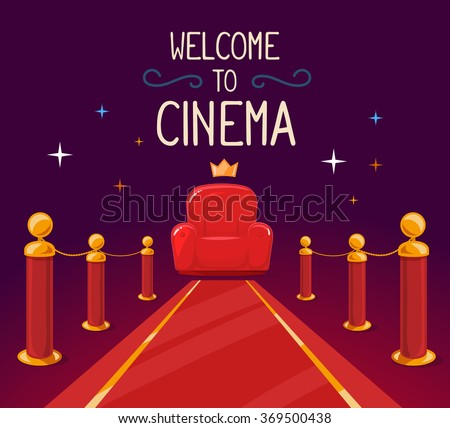 Vector illustration of star red carpet and cinema armchair with text on purple background. Art design for web, site, advertising, banner, poster, flyer, brochure, board, paper print. - stock vector