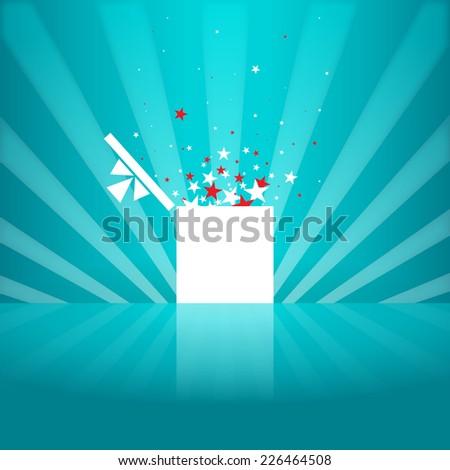 Vector illustration of star white gift box design element. - stock vector