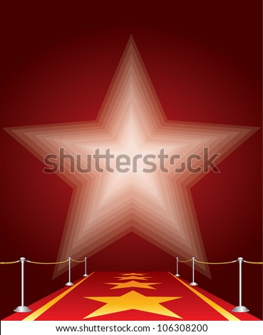 vector illustration of stars on red carpet - stock vector
