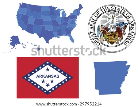 Vector Illustration of state Arkansas,contains: High detailed map of USA High detailed flag of state Arkansas High detailed great seal of state Arkansas Arkansas state,shape - stock vector