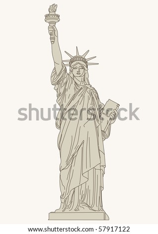 """vector illustration of """"Statue of Liberty"""" - stock vector"""