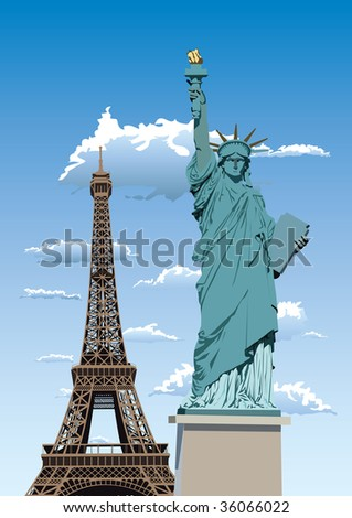 Vector illustration of Statue of Liberty in Paris and Eiffel tower against blue sky with white clouds - stock vector