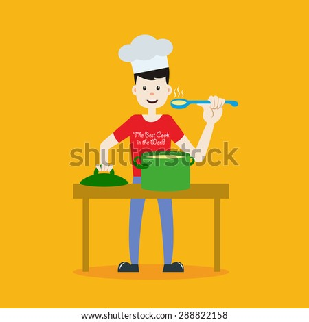 Vector illustration of stay at home father. Young good-looking man in chef hat cooking and tasting hot food. Cartoon style on isolated background. - stock vector