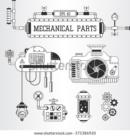 Vector illustration of steampunk mechanical parts: photo camera, pipes, cogwheels. - stock vector
