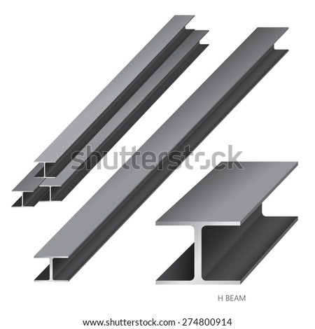 Vector illustration of steel construction isolated (H Beam) on white background. - stock vector