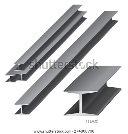Vector illustration of steel construction isolated (I Beam) on white background. - stock vector