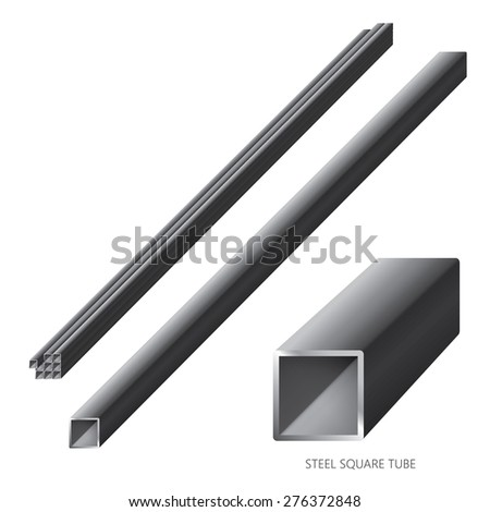 Vector illustration of steel construction isolated (Steel Square Tube) on white background. - stock vector