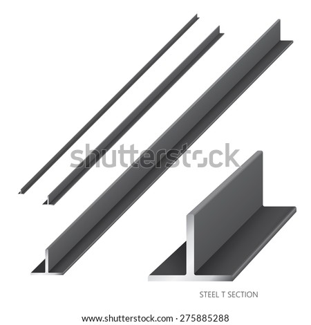 Vector illustration of steel construction isolated (Steel T Section) on white background. - stock vector