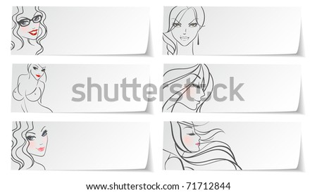Vector illustration of Stickers girls - stock vector