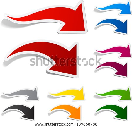 Vector illustration of sticky collection of paper arrows. Eps10. - stock vector