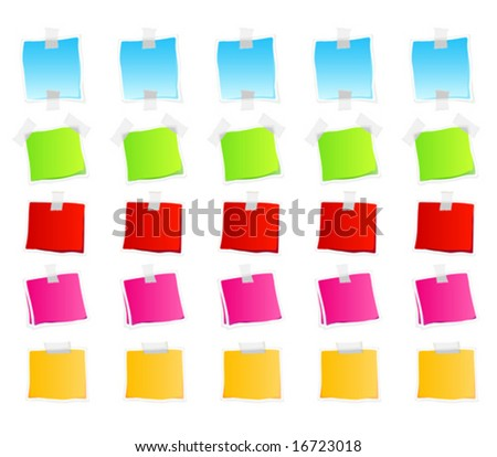 Vector illustration of sticky retail notes. 25 elements in various colorful versions.