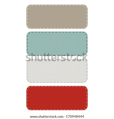 Vector Illustration of Stitched Grosgrain Ribbon Patches. Also see other color sets! - stock vector
